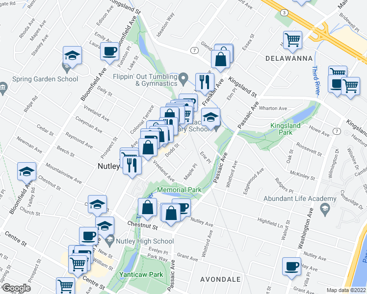 map of restaurants, bars, coffee shops, grocery stores, and more near in Nutley