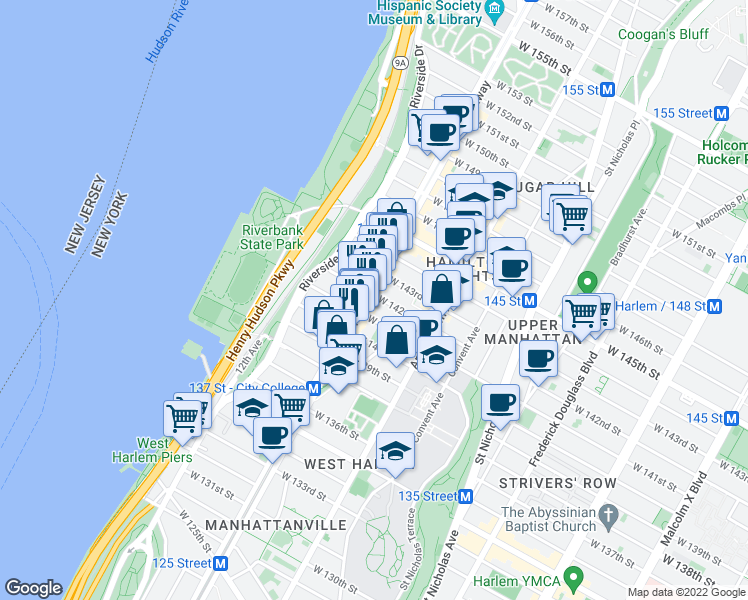map of restaurants, bars, coffee shops, grocery stores, and more near 3458 Broadway in New York