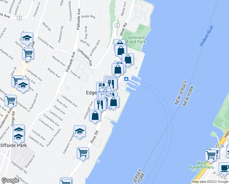 map of restaurants, bars, coffee shops, grocery stores, and more near 943 River Road in Edgewater