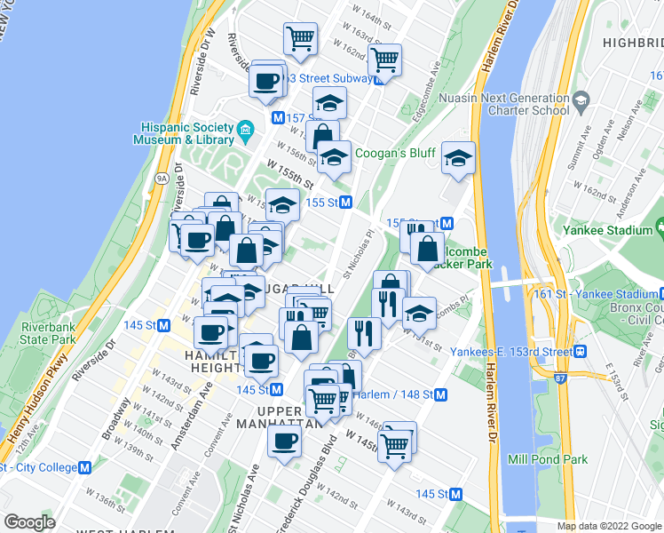 map of restaurants, bars, coffee shops, grocery stores, and more near St Nicholas Ave & W 152nd St in New York