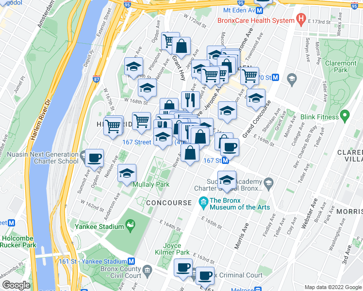 map of restaurants, bars, coffee shops, grocery stores, and more near River Avenue in Bronx