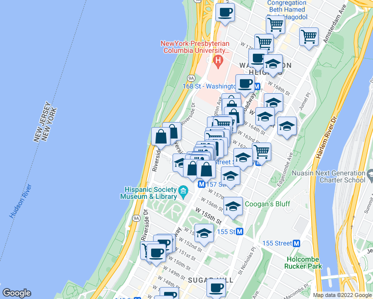 map of restaurants, bars, coffee shops, grocery stores, and more near 834 Riverside Dr in New York