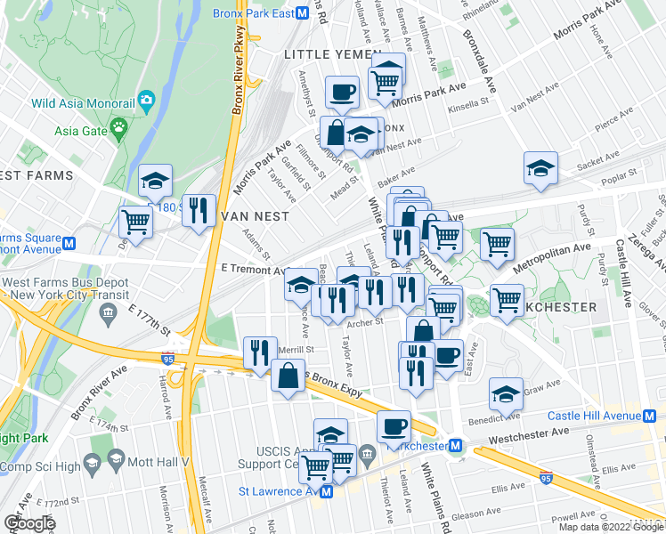 map of restaurants, bars, coffee shops, grocery stores, and more near 1533 Beach Avenue in Bronx