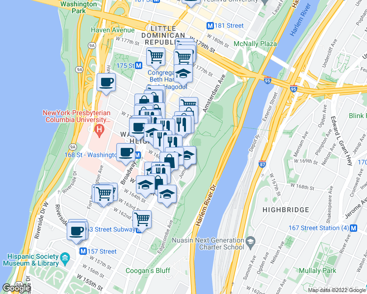 map of restaurants, bars, coffee shops, grocery stores, and more near Amsterdam Avenue & West 170th Street in New York