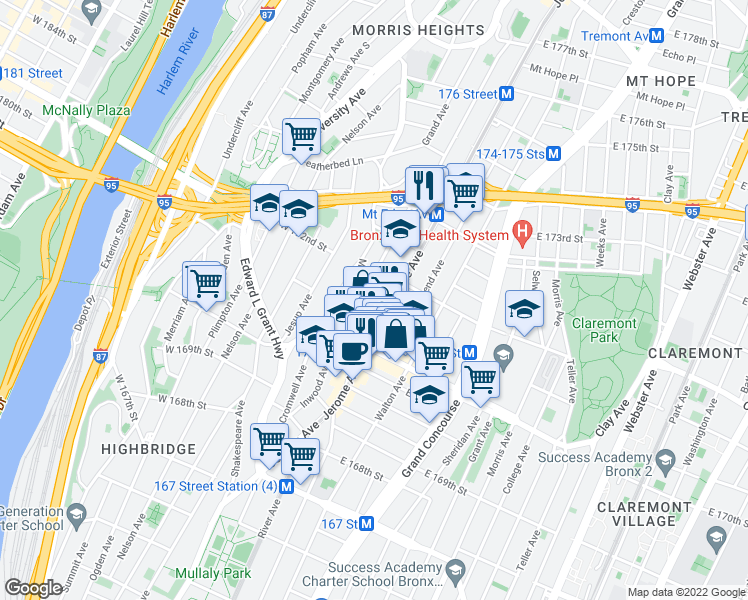 map of restaurants, bars, coffee shops, grocery stores, and more near 10 W 172nd St in Bronx