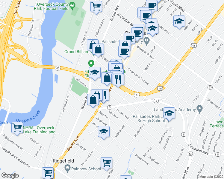 map of restaurants, bars, coffee shops, grocery stores, and more near 875 Broad Ave in Ridgefield