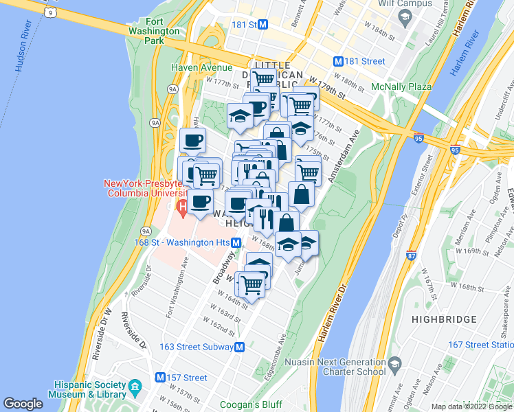 map of restaurants, bars, coffee shops, grocery stores, and more near St Nicholas Ave & W 170th St in New York