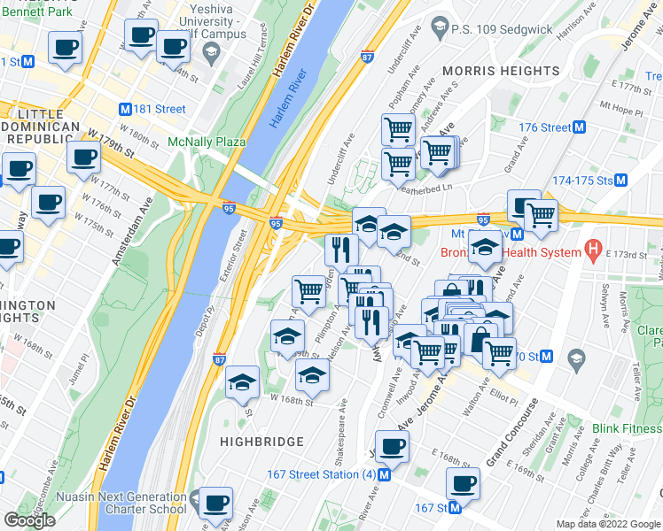map of restaurants, bars, coffee shops, grocery stores, and more near 1455-1465 Edward L Grant Hwy in Bronx