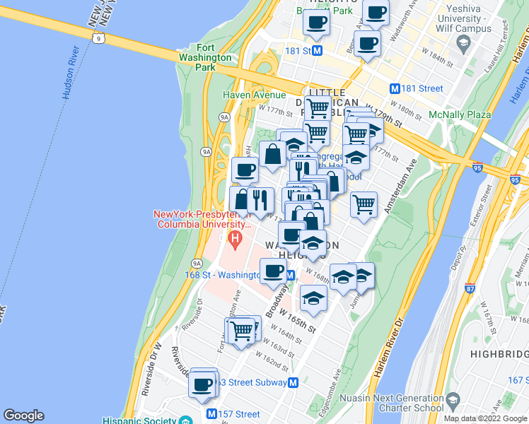 map of restaurants, bars, coffee shops, grocery stores, and more near 238 Fort Washington Avenue in New York