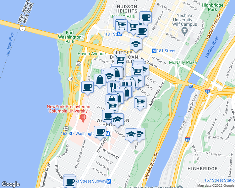 map of restaurants, bars, coffee shops, grocery stores, and more near West 173rd Street in New York