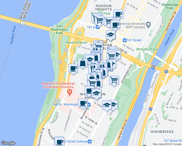 map of restaurants, bars, coffee shops, grocery stores, and more near 631-699 W 173rd St in New York