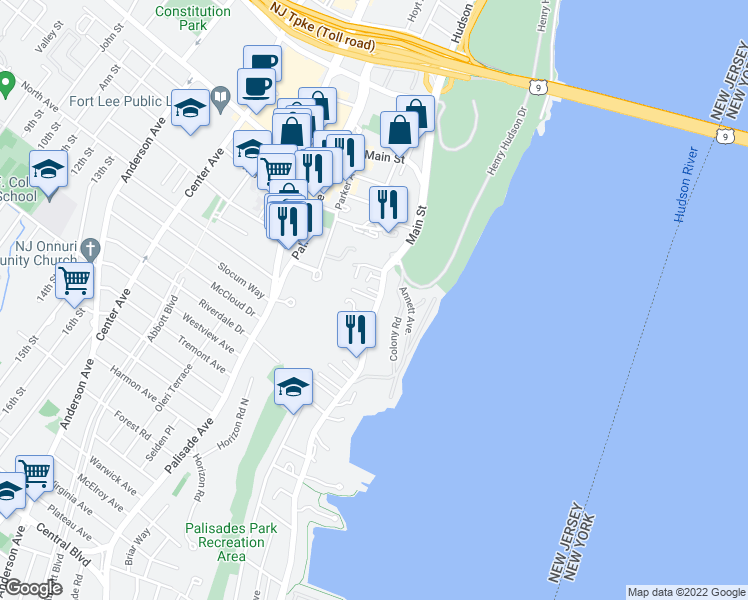 map of restaurants, bars, coffee shops, grocery stores, and more near 1538 River Road in Edgewater
