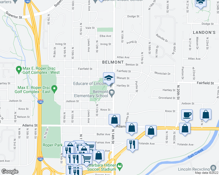 map of restaurants, bars, coffee shops, grocery stores, and more near 1234 Judson Street in Lincoln