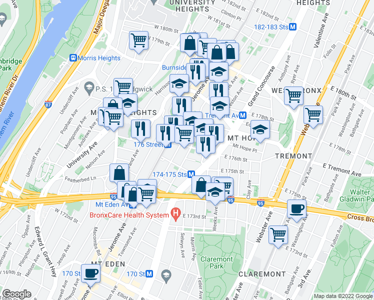 map of restaurants, bars, coffee shops, grocery stores, and more near 1780 Walton Ave in Bronx