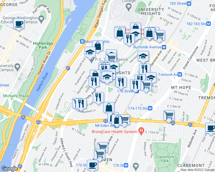 map of restaurants, bars, coffee shops, grocery stores, and more near West 176th Street in Bronx