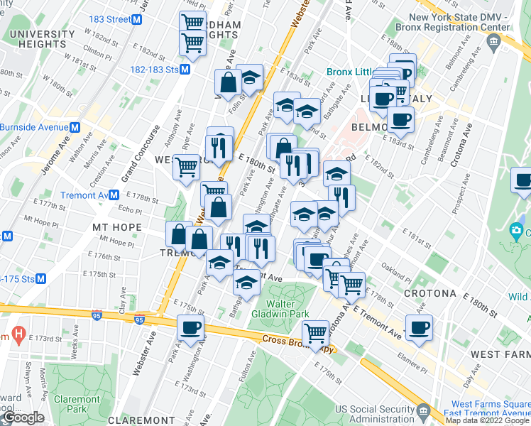 map of restaurants, bars, coffee shops, grocery stores, and more near East 179th Street in Bronx