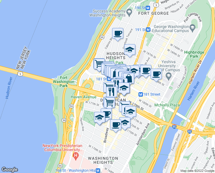 map of restaurants, bars, coffee shops, grocery stores, and more near 701-799 U.S. 9 in New York