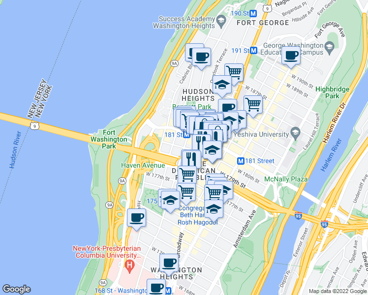 map of restaurants, bars, coffee shops, grocery stores, and more near 707 West 179th Street in New York