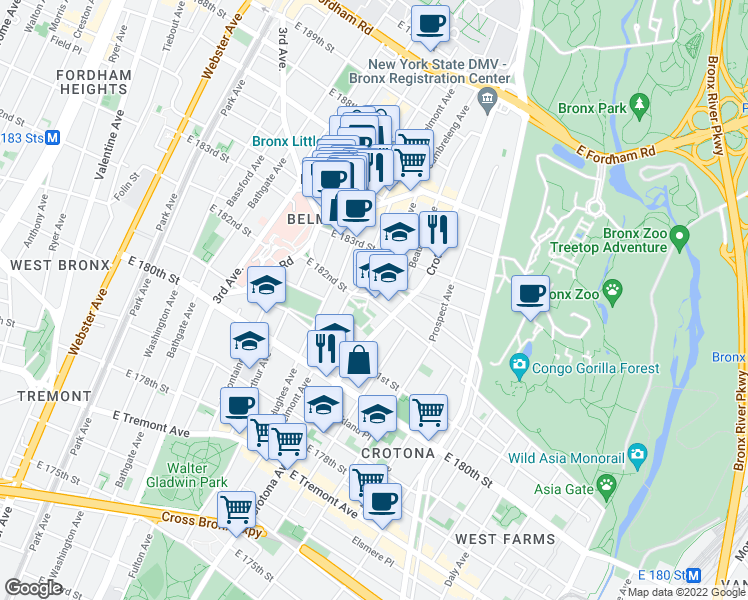 map of restaurants, bars, coffee shops, grocery stores, and more near 658-662 Grote St in Bronx