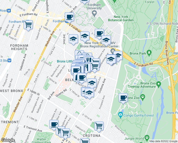 map of restaurants, bars, coffee shops, grocery stores, and more near 2383 Belmont Ave in Bronx