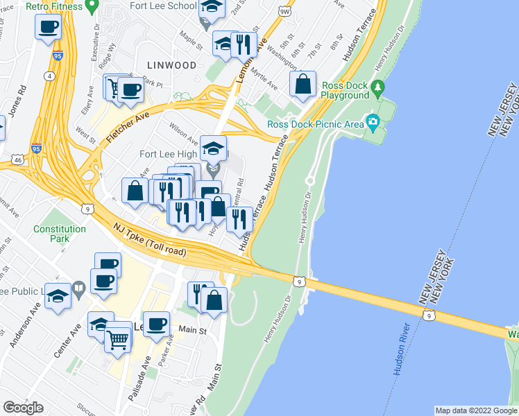 map of restaurants, bars, coffee shops, grocery stores, and more near 2175 Hudson Terrace in Englewood Cliffs