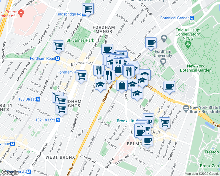 map of restaurants, bars, coffee shops, grocery stores, and more near 2462 Webster Ave in Bronx