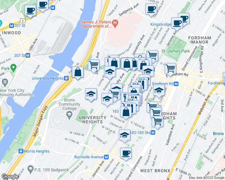 map of restaurants, bars, coffee shops, grocery stores, and more near 2271-2365 Aqueduct Avenue East in Bronx