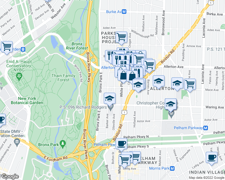 map of restaurants, bars, coffee shops, grocery stores, and more near 2504 Olinville Avenue in Bronx