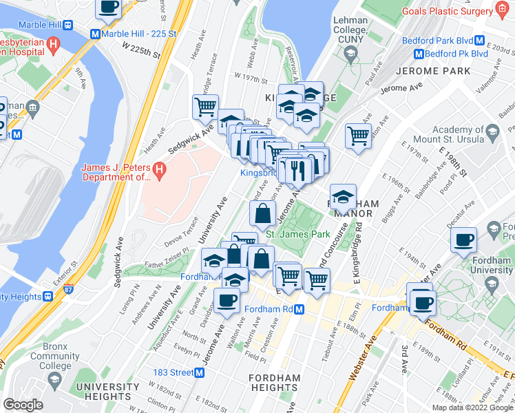 map of restaurants, bars, coffee shops, grocery stores, and more near 21-47 West 192nd Street in Bronx