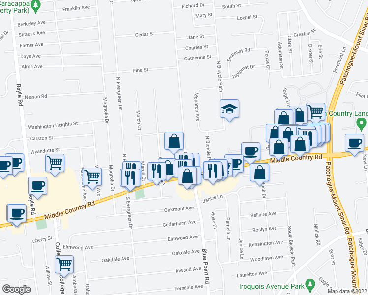 map of restaurants, bars, coffee shops, grocery stores, and more near 40 Dare Road in Selden