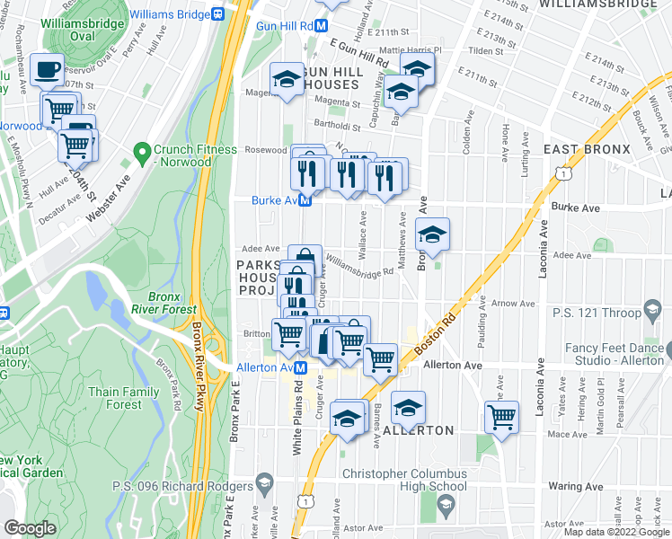 map of restaurants, bars, coffee shops, grocery stores, and more near 2932 Cruger Avenue in Bronx