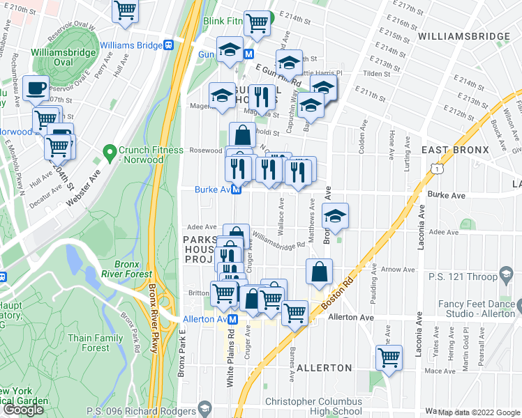 map of restaurants, bars, coffee shops, grocery stores, and more near 3032 Cruger Ave in Bronx