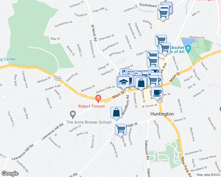 map of restaurants, bars, coffee shops, grocery stores, and more near in Huntington