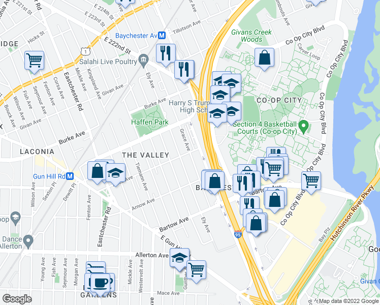 map of restaurants, bars, coffee shops, grocery stores, and more near Adee Ave & Grace Ave in Bronx