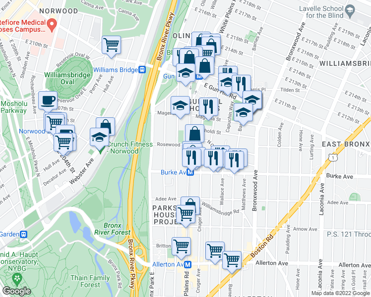 map of restaurants, bars, coffee shops, grocery stores, and more near 3309 White Plains Rd in Bronx