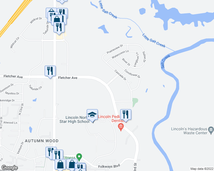 map of restaurants, bars, coffee shops, grocery stores, and more near Fletcher Ave & Meridian Dr in Lincoln