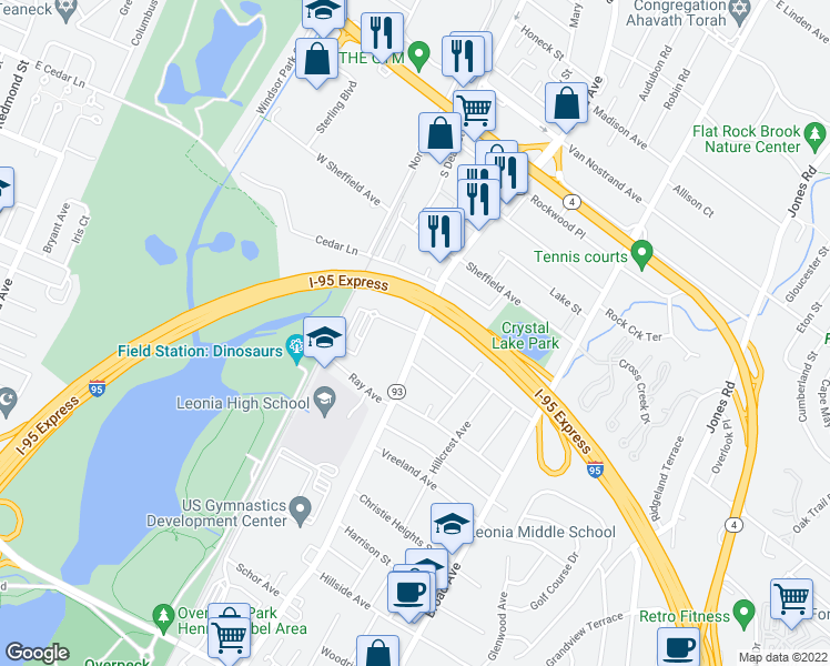 map of restaurants, bars, coffee shops, grocery stores, and more near 622-662 Grand Ave in Leonia