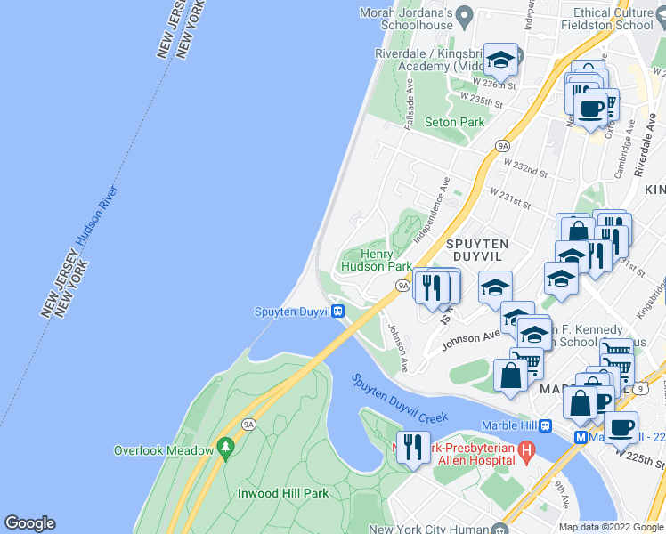 map of restaurants, bars, coffee shops, grocery stores, and more near Independence Avenue & Palisade Avenue in Bronx