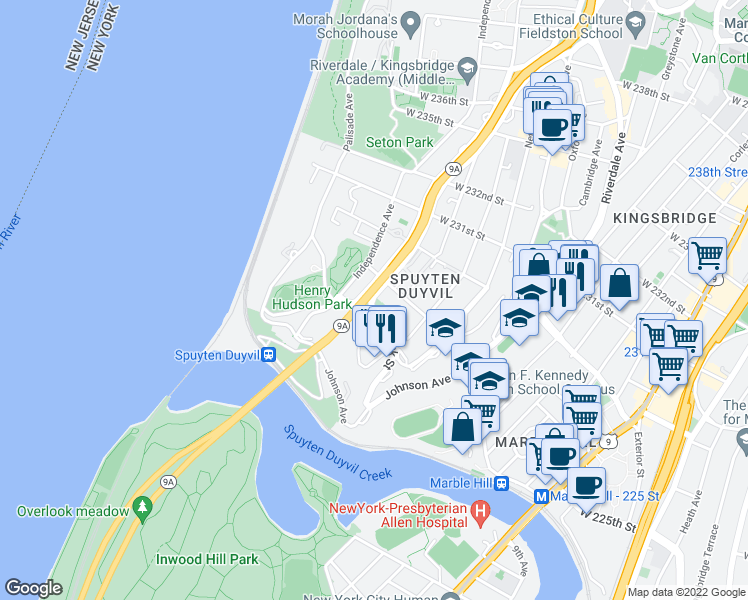 map of restaurants, bars, coffee shops, grocery stores, and more near 2600 Henry Hudson Parkway East in Bronx