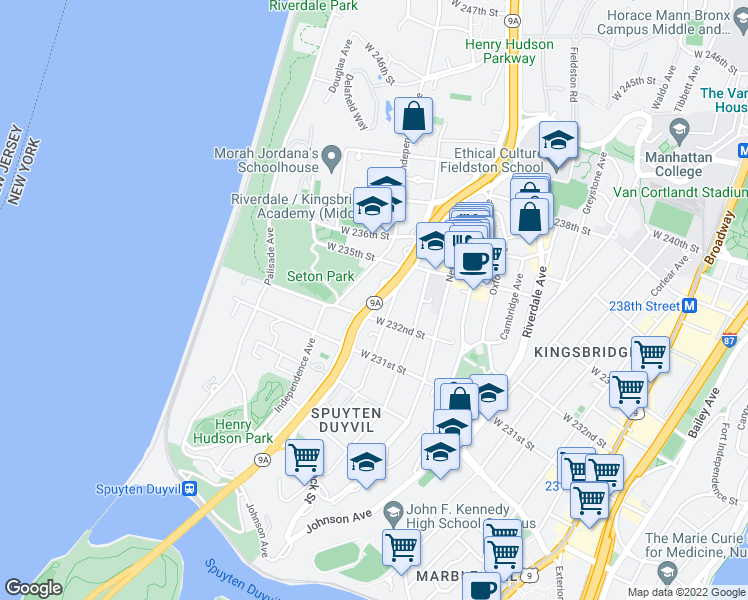 map of restaurants, bars, coffee shops, grocery stores, and more near 3201-3465 Henry Hudson Pkwy W in Bronx