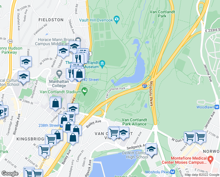 map of restaurants, bars, coffee shops, grocery stores, and more near Old Putnam Trail in Bronx