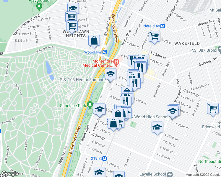 map of restaurants, bars, coffee shops, grocery stores, and more near 629 East 229th Street in Bronx