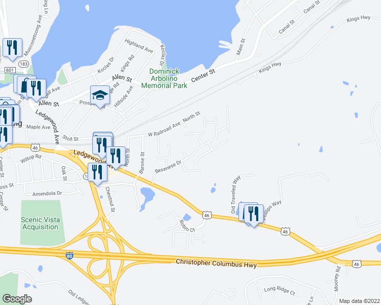 map of restaurants, bars, coffee shops, grocery stores, and more near Rte 46 in Netcong