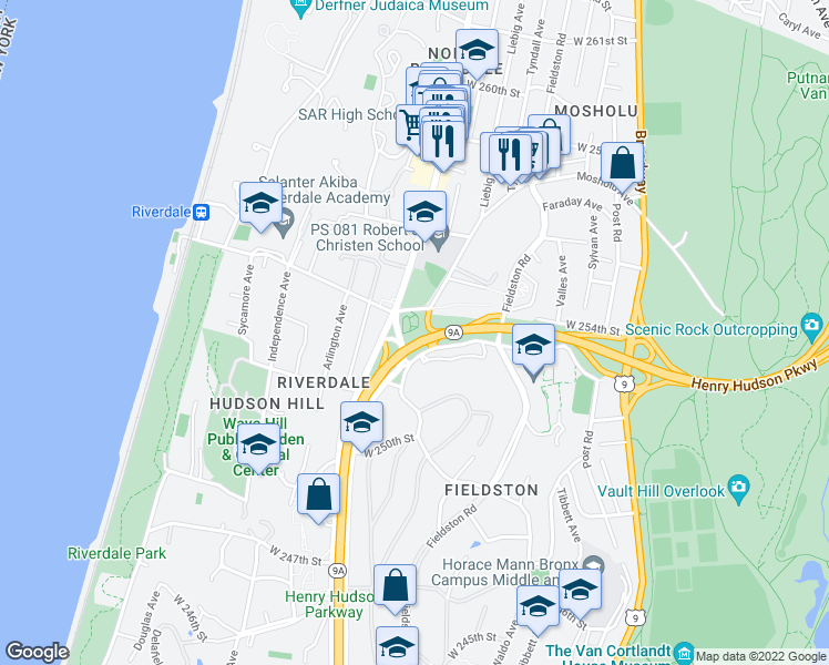 map of restaurants, bars, coffee shops, grocery stores, and more near 5355 Henry Hudson Parkway in Bronx