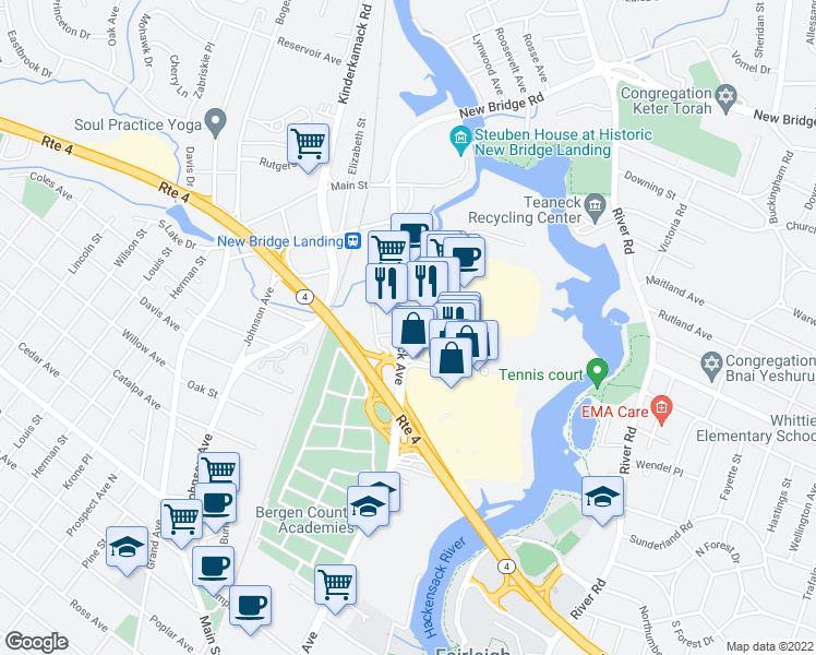 map of restaurants, bars, coffee shops, grocery stores, and more near in Hackensack