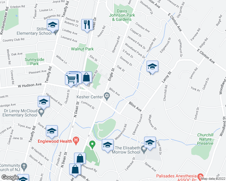 map of restaurants, bars, coffee shops, grocery stores, and more near 14 Bliss Ave in Tenafly
