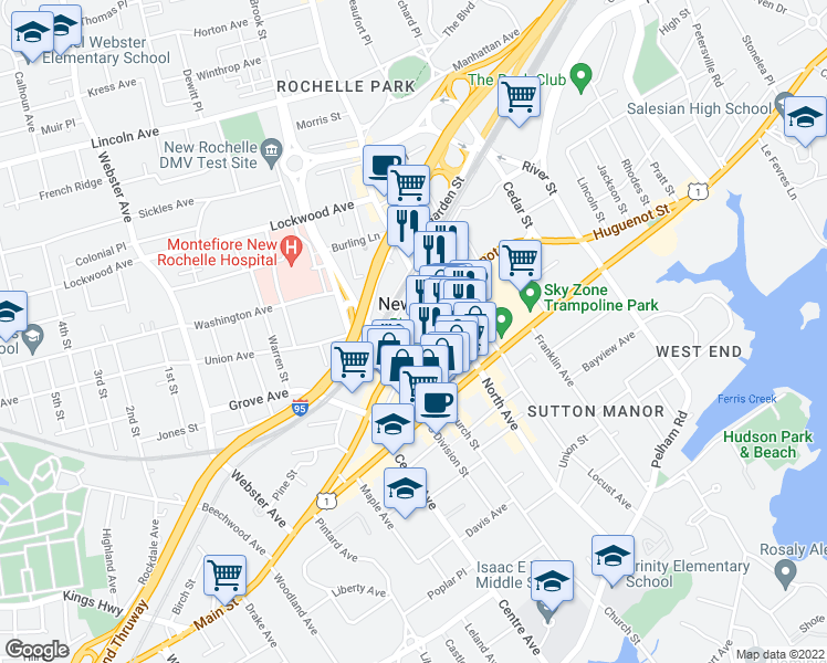 map of restaurants, bars, coffee shops, grocery stores, and more near 255 Huguenot Street in New Rochelle