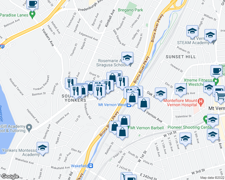 map of restaurants, bars, coffee shops, grocery stores, and more near Yonkers Ave & Sherwood Terrace in Yonkers