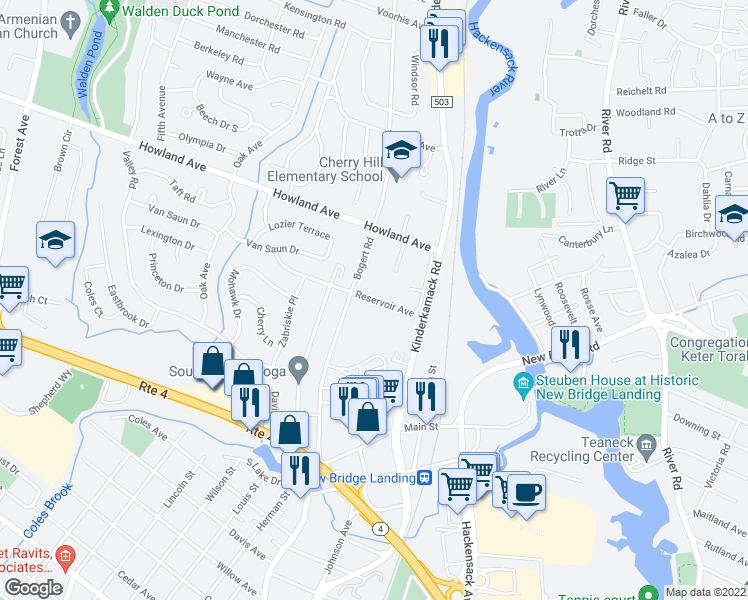 map of restaurants, bars, coffee shops, grocery stores, and more near 72 Reservoir Avenue in River Edge