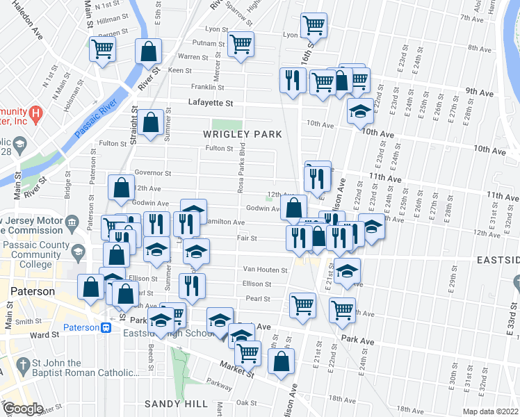 map of restaurants, bars, coffee shops, grocery stores, and more near 298-312 Hamilton Ave in Paterson